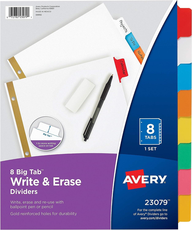 Avery 8-Tab Binder Dividers 23079 Write /& Erase Multicolor Big Tabs 48 Sets