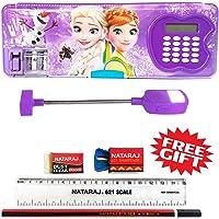Shifaa Enterprise Multipurpose Cartoon Frozen Princess Printed Magnetic Pencil Box with Calculator, Dual Sharpener, LED Lamp Light for Girls and Boys (Purple)
