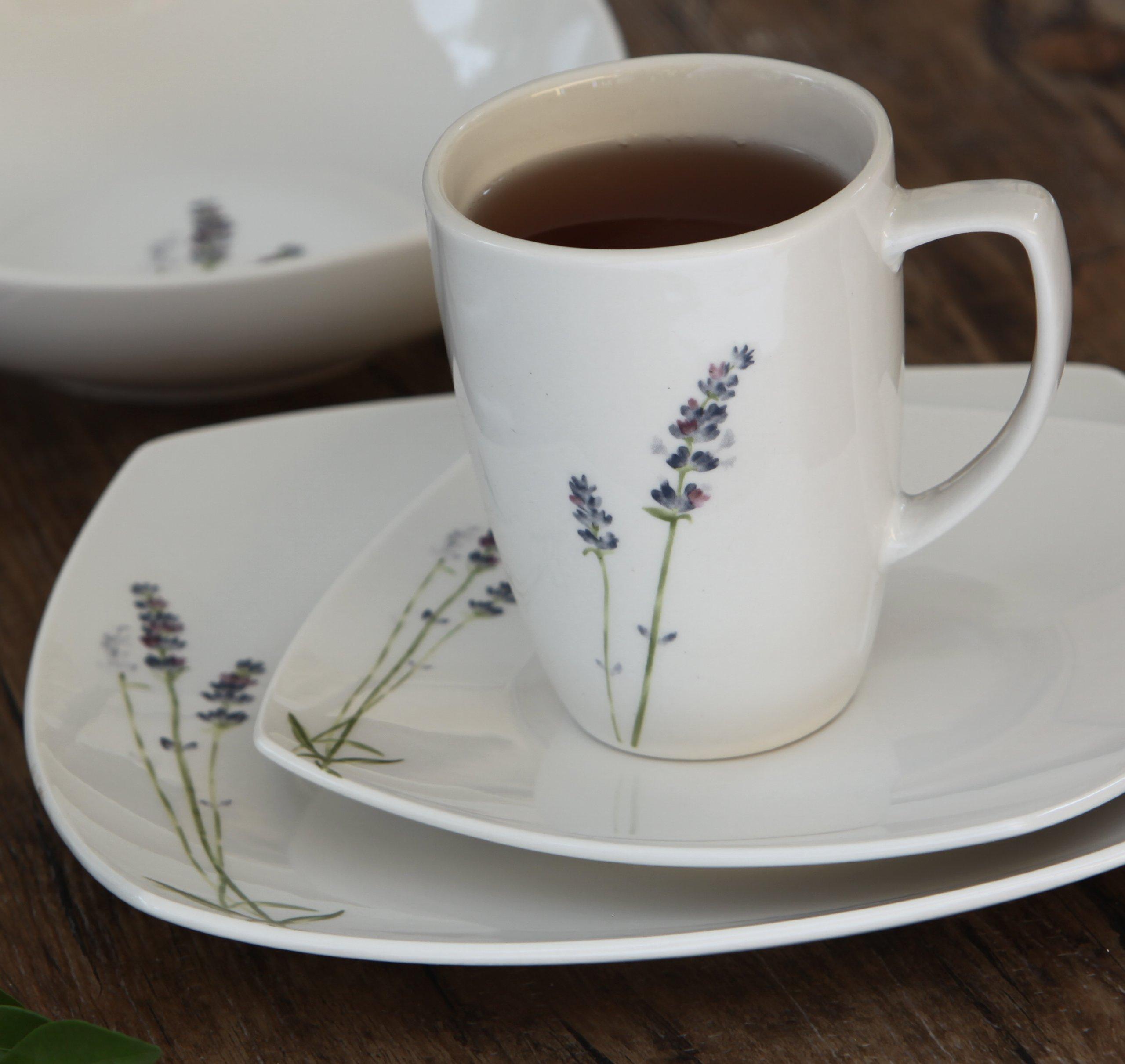 Melange Square 32-Piece Porcelain Dinnerware Set (Lavender) | Service for 8 | Microwave, Dishwasher & Oven Safe | Dinner Plate, Salad Plate, Soup Bowl & Mug (8 Each) by Melange (Image #6)