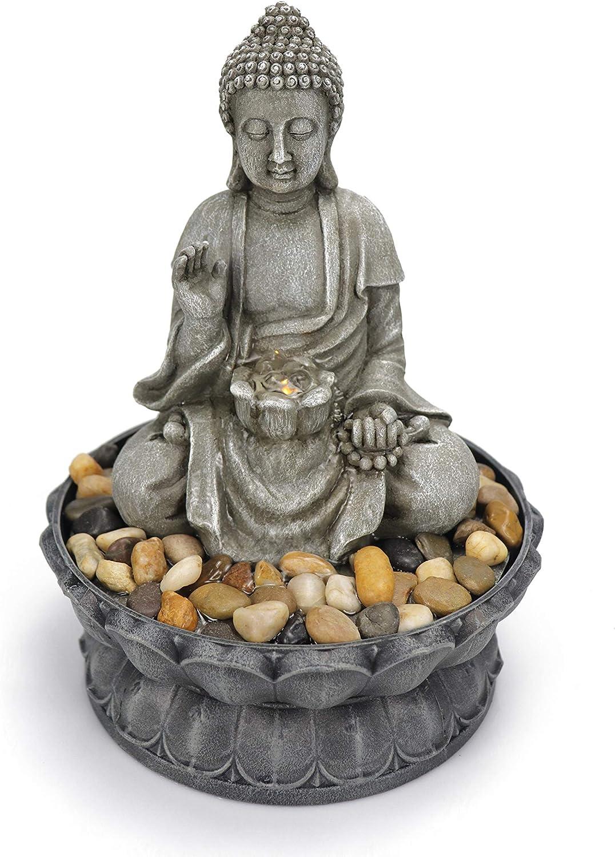 Warm Garden Buddha Fountain Tabletop Water Fountain-Sitting Buddha Tabletop Water Fountain Zen Fountain