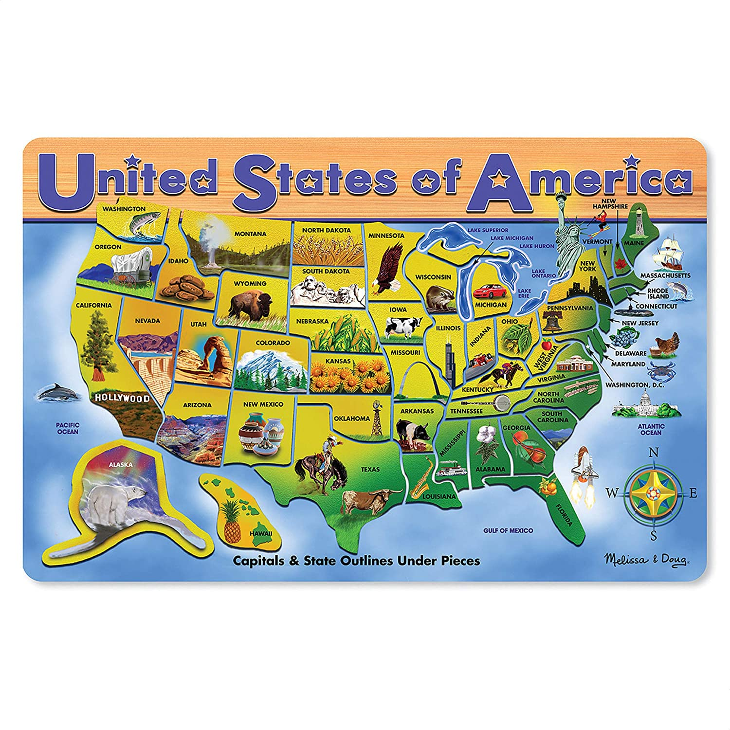 Melissa & Doug Wooden USA Map Puzzle (Wipe-Clean Surface, Teaches Geography & Shapes, 45 Pieces, 18.2″ H × 11.6″ W × 0.45″ L, Great Gift for Girls and Boys - Best for 5, 6, 7 Year Olds and Up)