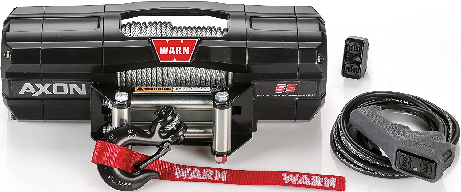 Amazon.com: WARN 101155 AXON 55 Powersports Winch With Steel Rope: Automotive