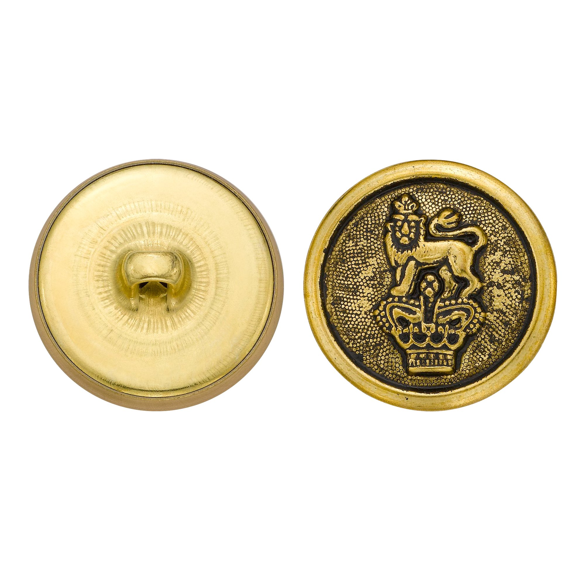 C&C Metal Products 5277 Crowned Lion Metal Button, Size 36 Ligne, Antique Gold, 36-Pack by C&C Metal Products Corp