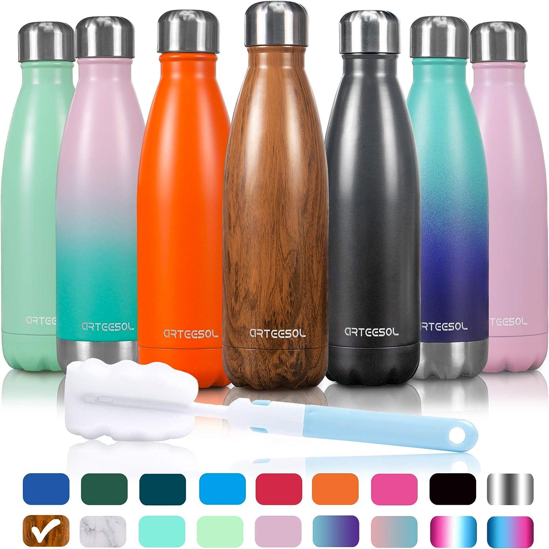 arteesol Botella de vacío de Acero Inoxidable, Botella de Agua con Aislamiento de Vacío de Doble Pared Libre de BPA a Prueba de Fugas-350/500/750/1000ml para Deportes, Viajes, Escuela, Oficina
