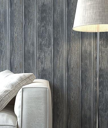 Holztapete Vinyl Anthrazit Natur | Schöne Edle Tapete Im Holzwand Design |  Moderne Optik Für