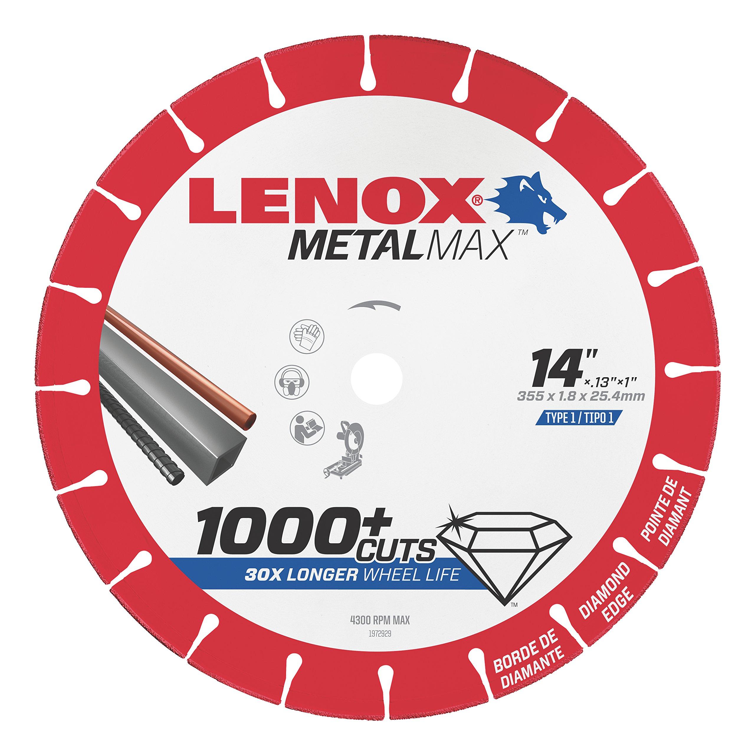 Lenox Tools 1972929 METALMAX Diamond Edge Cutoff Wheel, 14'' x 1''