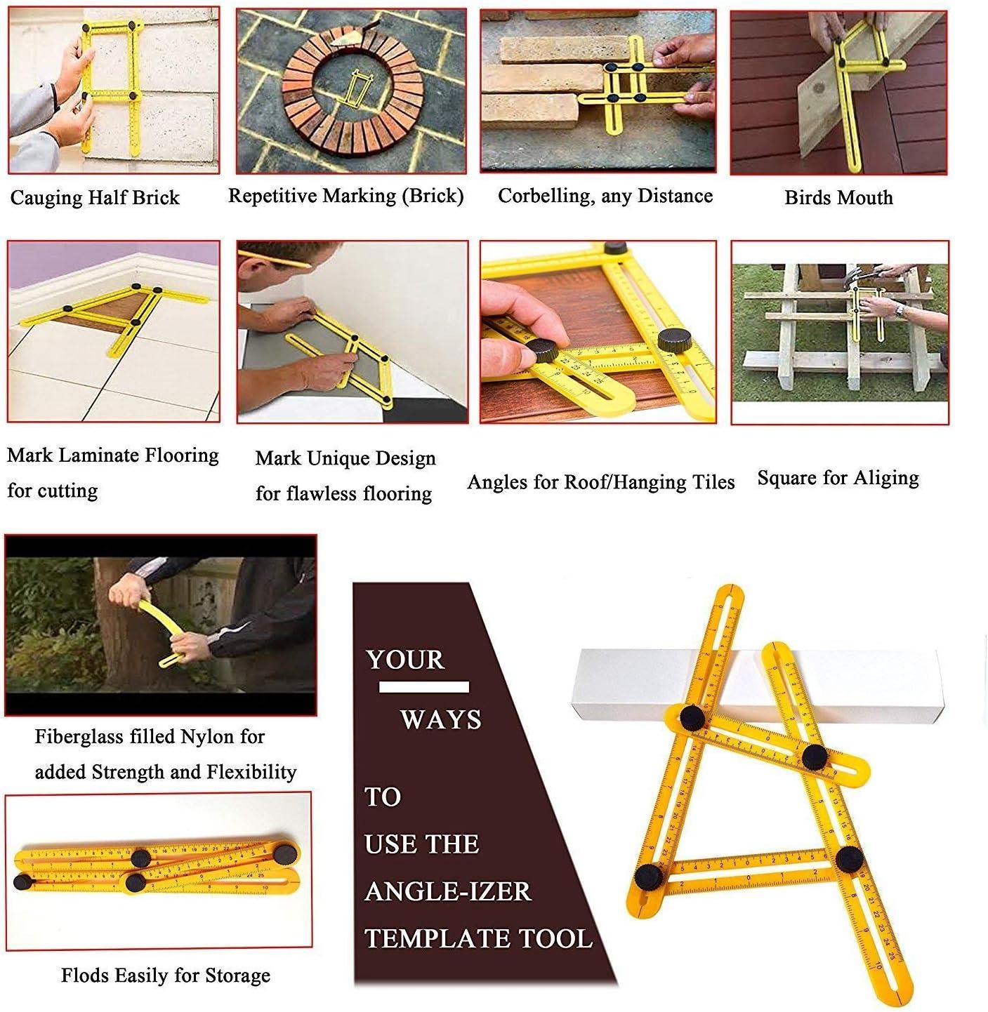 artesano para un trabajo profesional y bien hecho 1 pieza Regla de medici/ón multi/ángulo para azulejos y suelos herramienta esencial para carpintero madera constructor mide todos los /ángulos