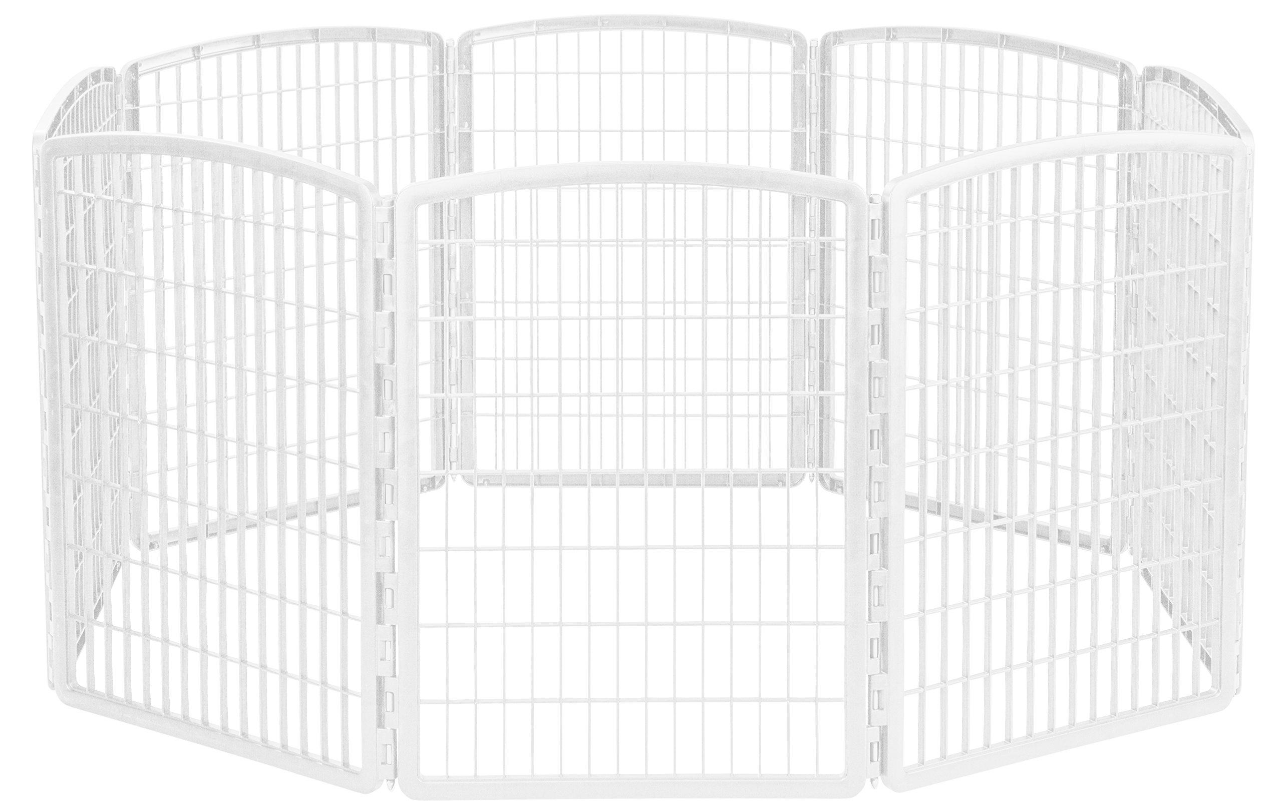 IRIS 34'' Exercise 8-Panel Pet Playpen without Door, White