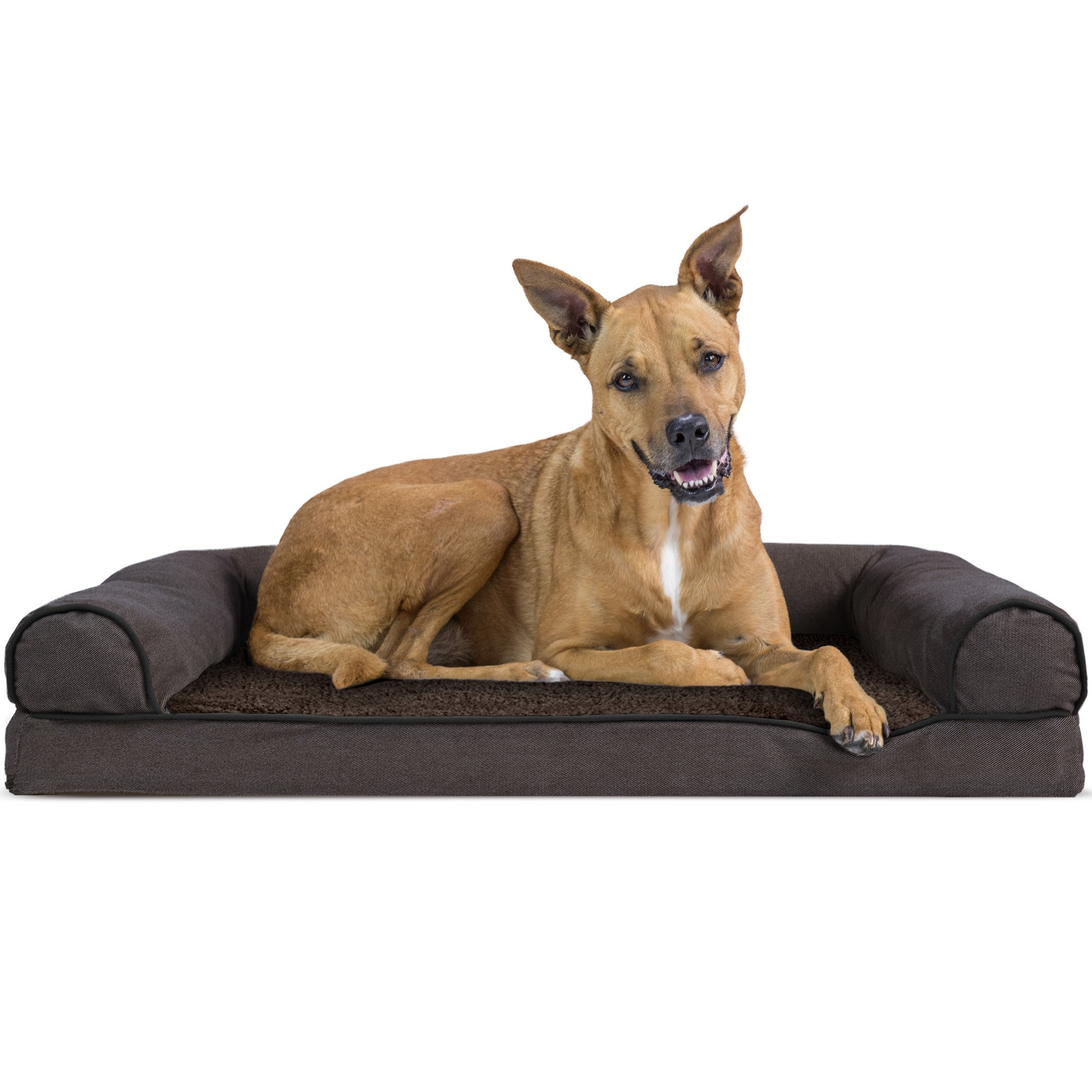 Furhaven Pet Dog Bed | Orthopedic Faux Fleece & Chenille Sofa-Style Couch Pet Bed for Dogs & Cats, Coffee, Large