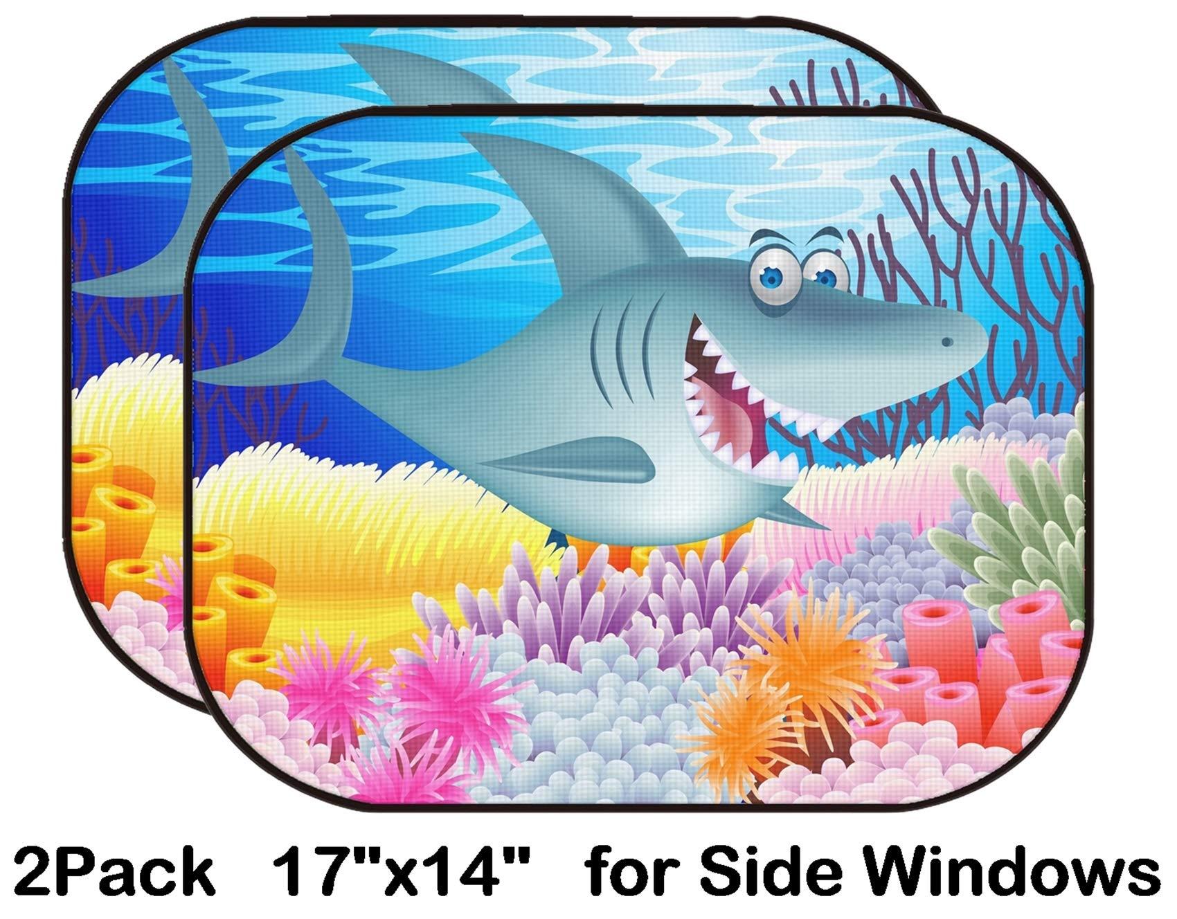 Liili Car Sun Shade for Side Rear Window Blocks UV Ray Sunlight Heat - Protect Baby and Pet - 2 Pack Shark Cartoon Photo 12152683 by Liili