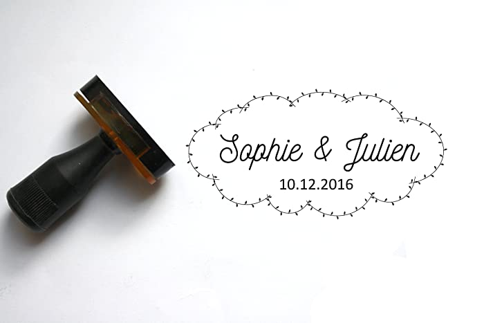 9f9987d753 Custom wedding stamp, personalized stamp, with names and date. Cloud ...