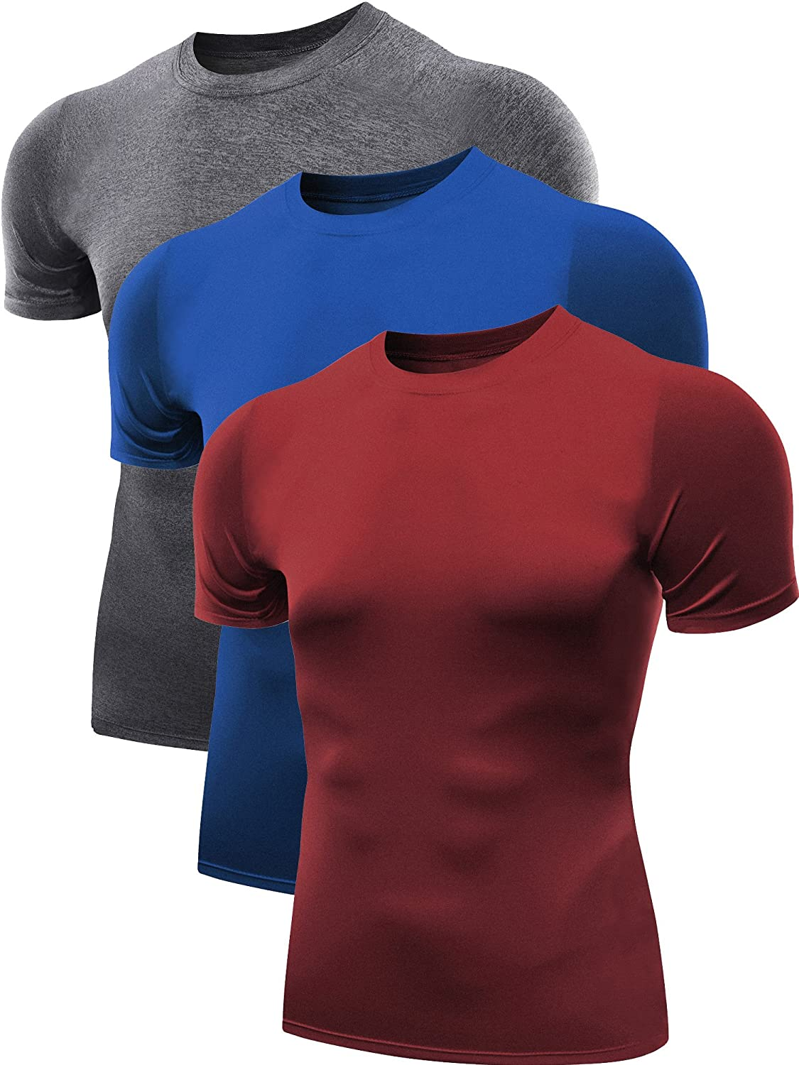 Neleus Men's 3 Pack Athletic Compression Under Base Layer Sport Shirt NDT0003