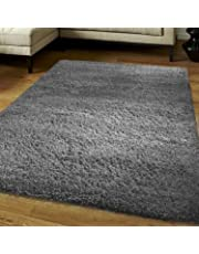 """FunkyBuys® Shaggy Rug Plain 5cm Thick Soft Pile Modern 100% Berclon Twist Fibre Non-Shed Polyproylene Heat Set - AVAILABLE IN 6 SIZES On Amazon (Grey, 120cm x 170cm (4ft x 5ft 6""""))"""
