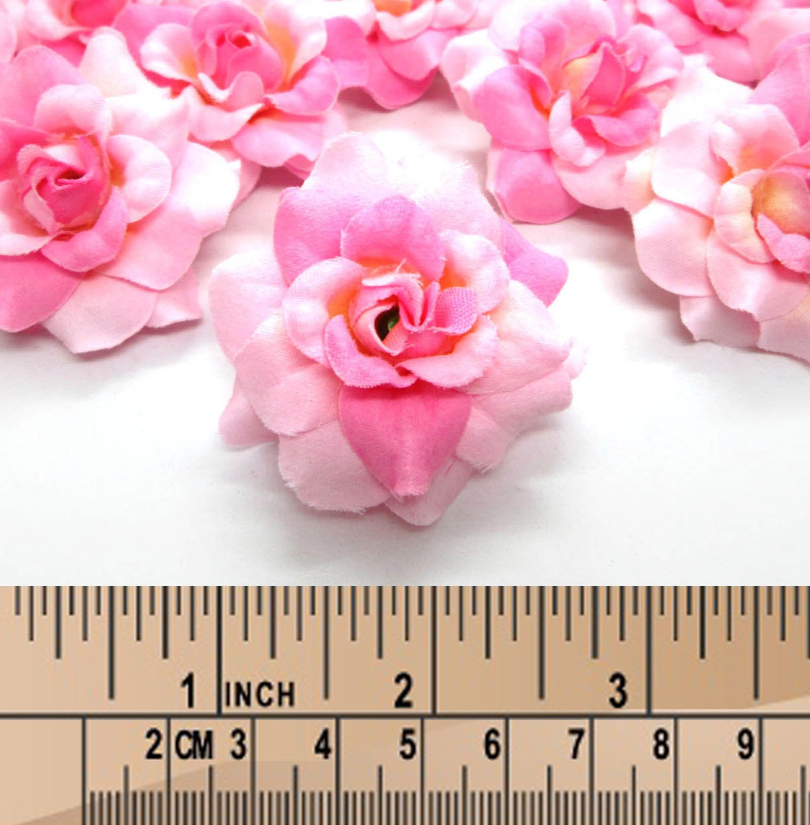 100-Silk-Two-Tone-Light-Pink-Roses-Flower-Head-175-Artificial-Flowers-Heads-Fabric-Floral-Supplies-Wholesale-Lot-for-Wedding-Flowers-Accessories-Make-Bridal-Hair-Clips-Headbands-Dress