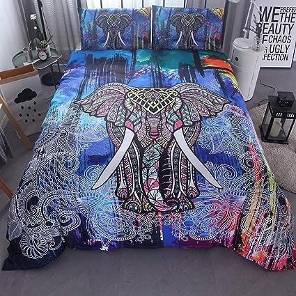 Biancheria da letto stile etnico 3D blu elefante camera da letto ...