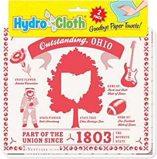 product image for Fiddler's Elbow Outstanding, Ohio Hydro Cloth | Eco-Friendly Sponge Cloths | Reusable Swedish Dish Cloths | Set of 2 Printed Sponge Cloths | Replaces 30 Rolls of Paper Towels