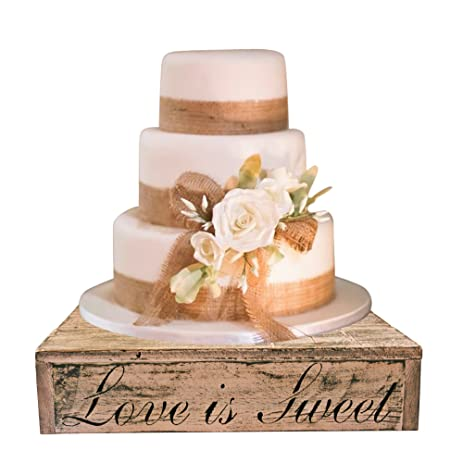 Amazon.com | Blush Wedding Country Rustic Wedding Solid Wood Cake ...