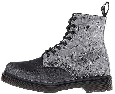 ad1cf774cb6d8f Dr. Martens 1460 Brokat grau Samt 8 Ösen Damen Stiefel