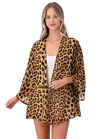 Leopard Thin Chiffon Loose fit Kimono Sleeve Cardigan Sweater- Cover up and  Robe (Brown 015adffd3