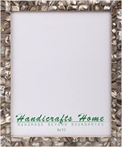 Picture Frames Chic Photo Frame Mother of Pearl Handmade Vintage 8x10 Grey