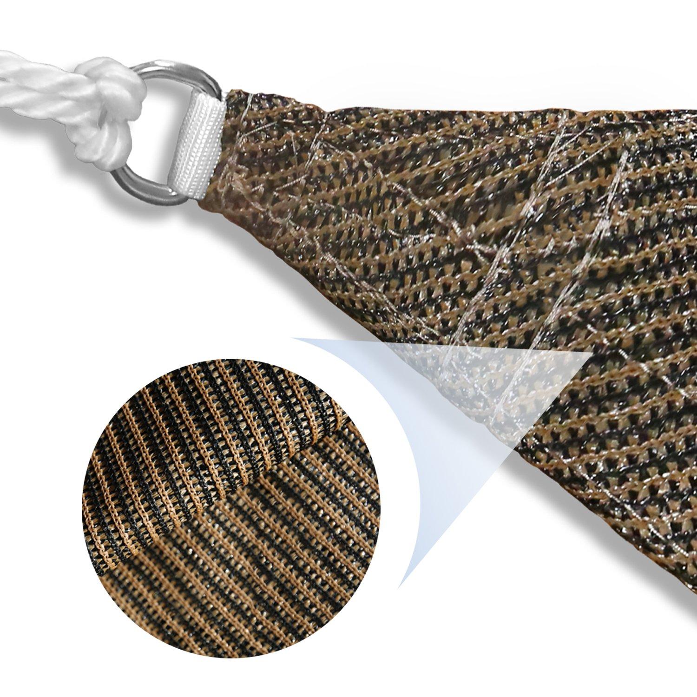 E K Sunrise 15 x 15 x 15 Brown Equilateral Triangle Sun Shade Sail Outdoor Shade Cloth UV Block Fabric,Curve Edge-Customized