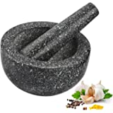 Anzone Solid Mortar and Pestle, Smooth Granite and Excellent Grind Performance-5.5 Inch Diameter, Black