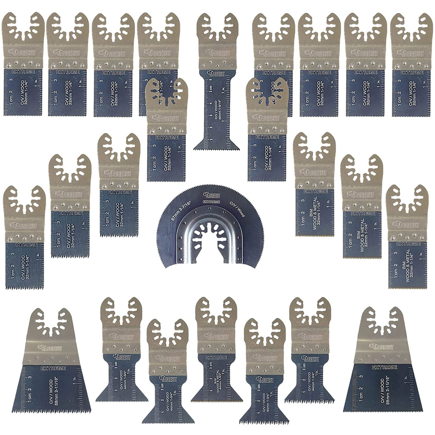 SabreCut 25 x SPK25A Premium Fast Fit OMT Mix Blades for Dewalt Bosch Fein Makita Milwaukee Craftsman Chicago Ridgid Ryobi Rockwell (HyperLock) Porter Cable Multi Tool Accessories