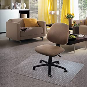 "Kuyal Carpet Chair Mat, 48"" x 36"" PVC Home Office Desk Chair Mat for Floor Protection, Clear, Studded, BPA Free Matte Anti-Slip (36"" X 48"" Rectangle)"
