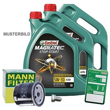 1 x Set de aceite - Muñeco de filtro de aceite + 10 L Castrol Magnatec Stop de Start 5 W de 30 A3/B4: Amazon.es: Coche y moto