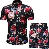 Mens Outfits Tracksuit 2PCS Set Sweatshirt Jogger Sweatpants Summer T-Shirts Shorts Sports Suits Hawaiian Set