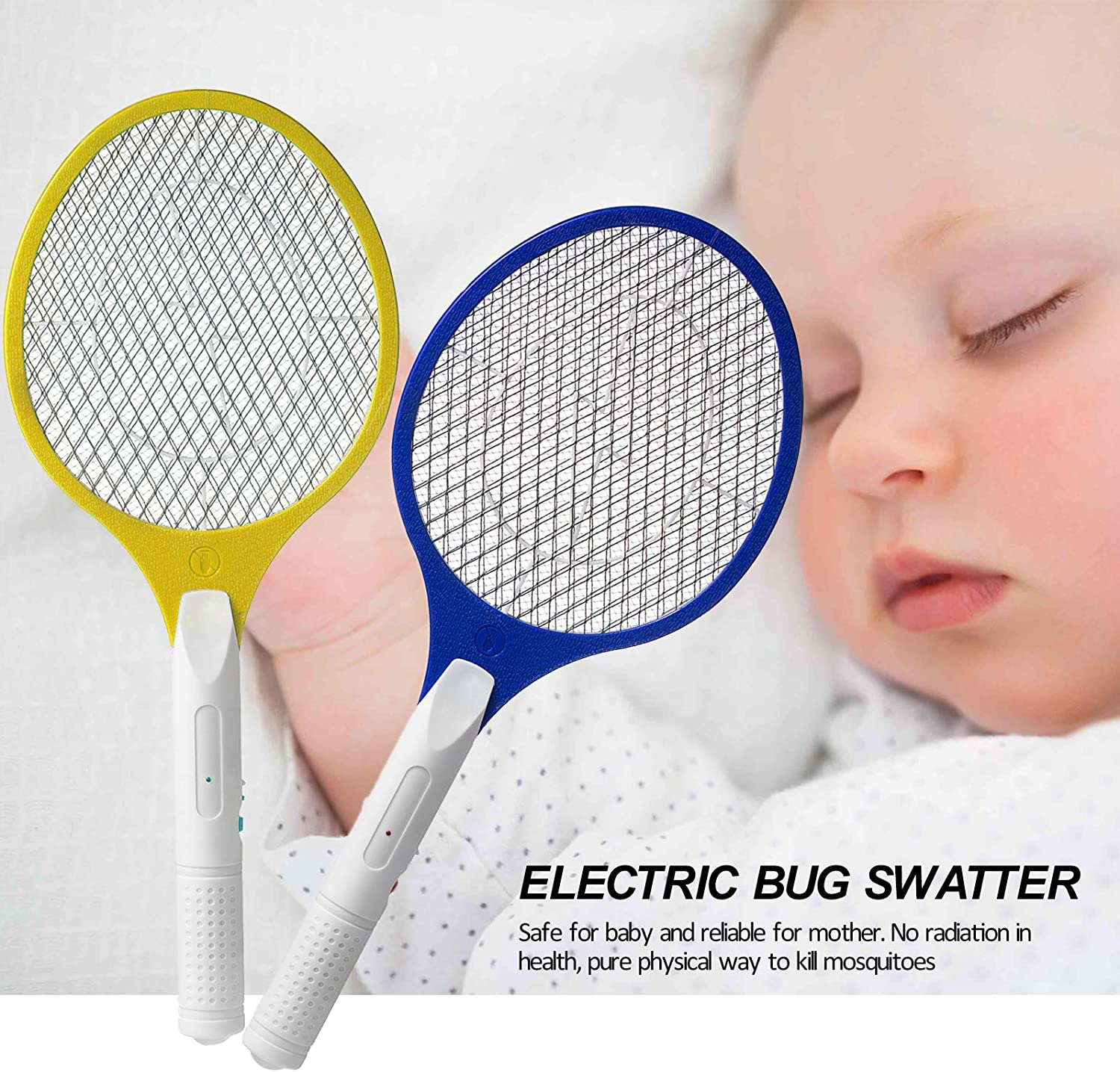 Micnaron Electric Fly Swatter 2 Pack, Portable Fly Mosquito Swatter 3500V, Handheld Bug Zapper Racket with Safe to Touch Mesh Net (Blue &Yellow): Garden & Outdoor