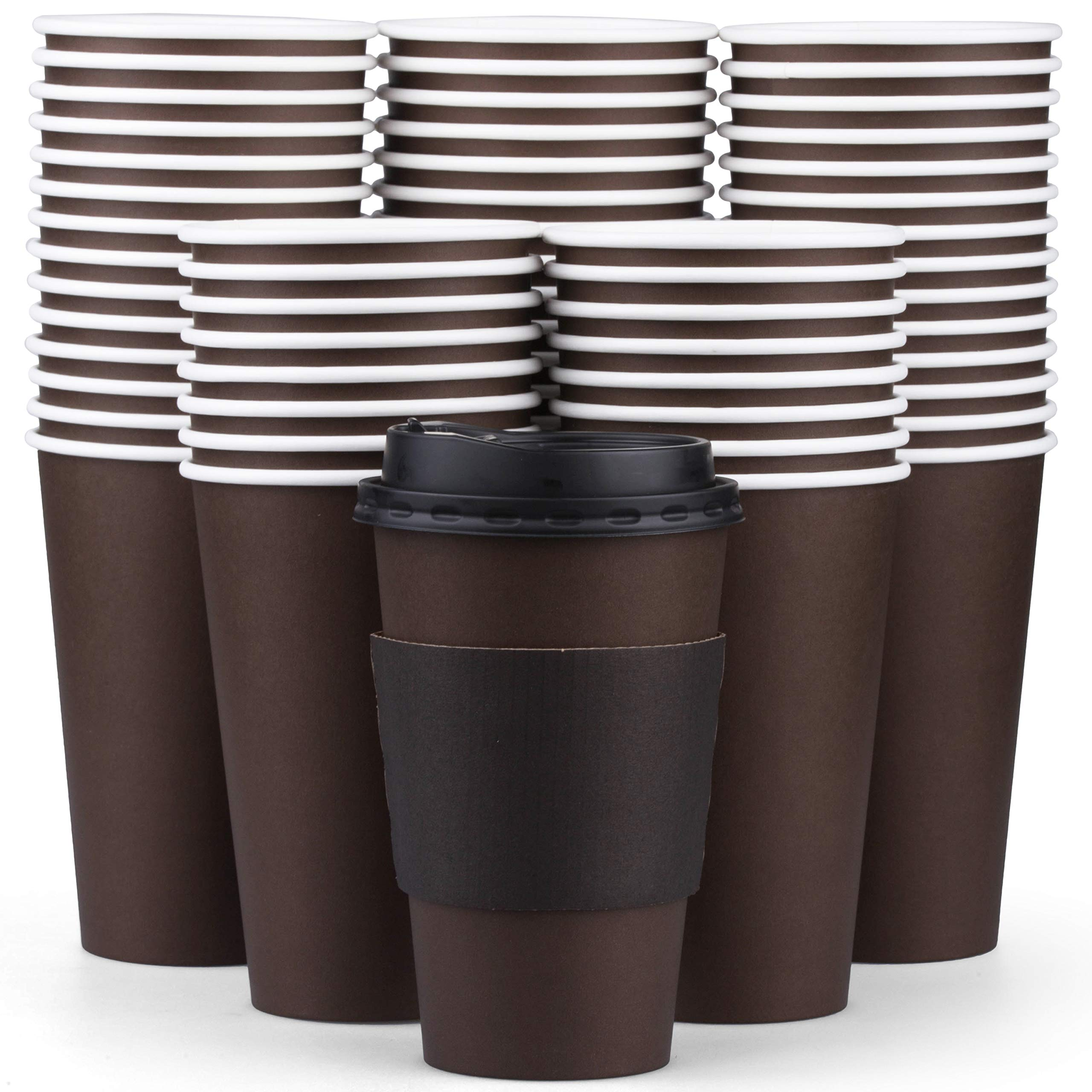 100 Pack Disposable Coffee Cups with tight Lids - Superior Quality 16 Oz Paper Hot Coffee Cups with Sleeves for comfortable Cup holding and Lids to prevent leaks by Promora