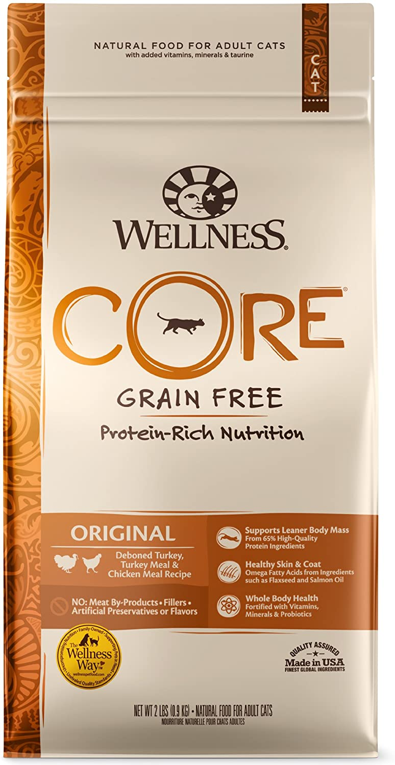 WELLNESS CORE Natural Grain Free Dry Cat Food, Original Turkey & Chicken