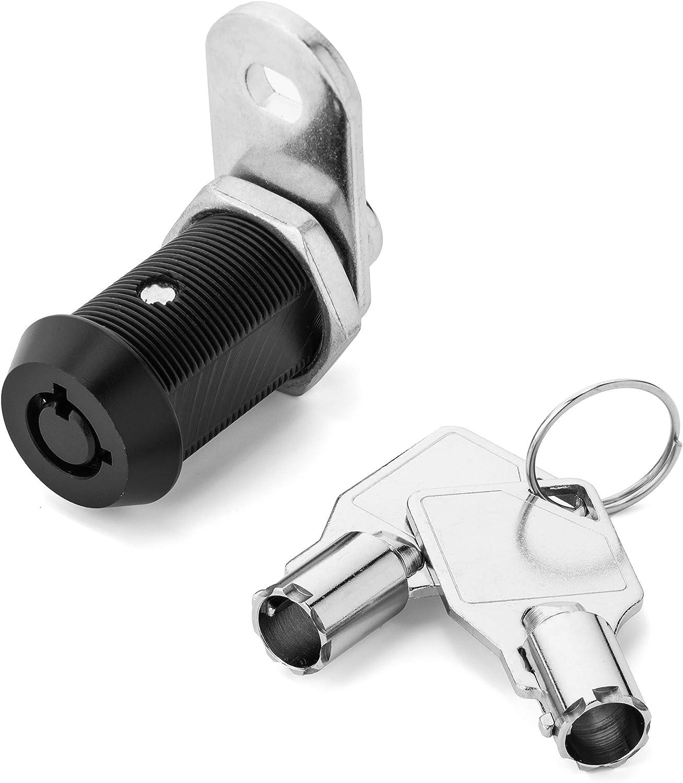 """Black Tubular Cam Lock with 1-1/8"""" Cylinder, Keyed Alike"""