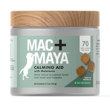 Mac + Maya™ Calming Aid for Dogs with Melatonin, Helps to Reduce Stress &