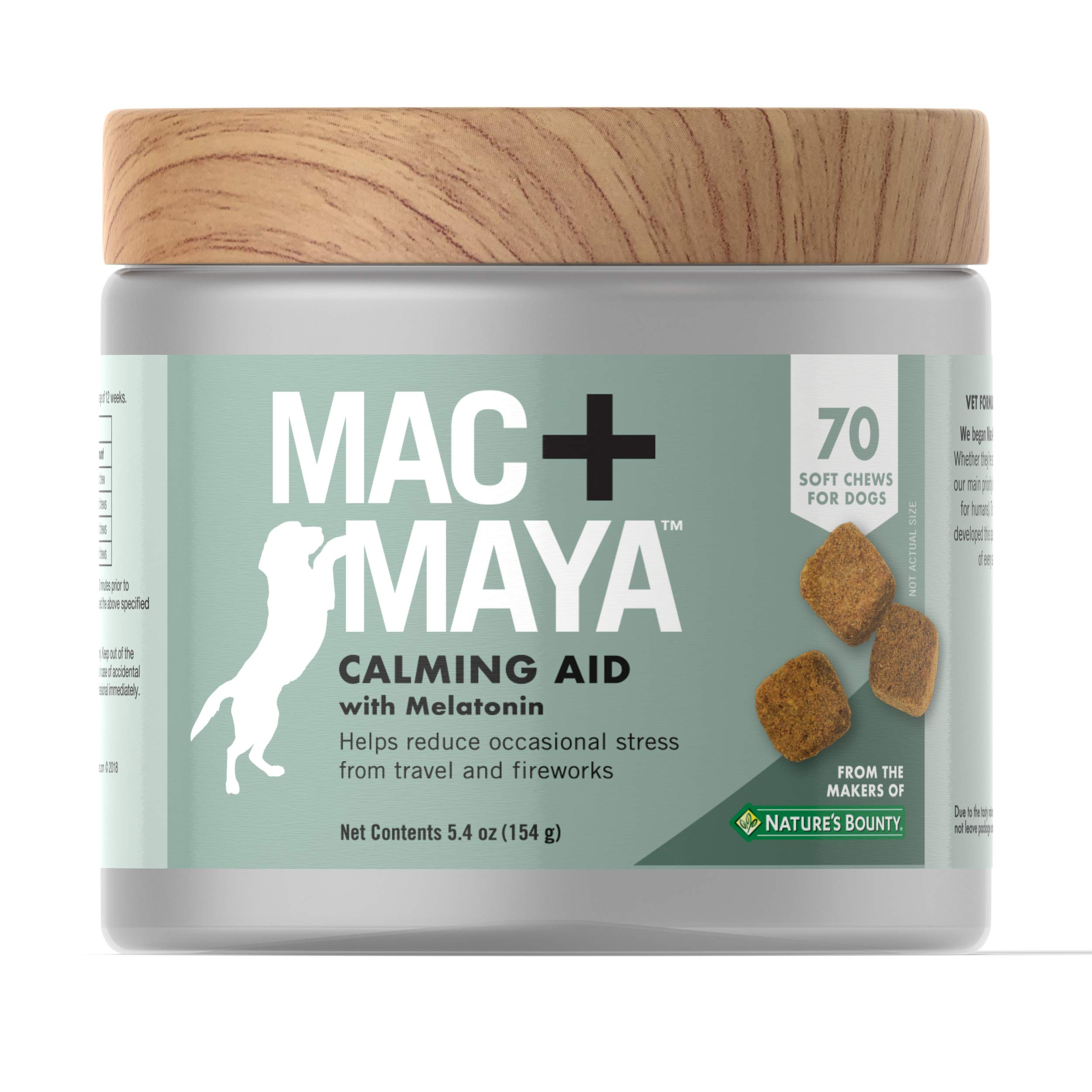 Mac + Maya™ Calming Aid for Dogs with Melatonin, Helps to Reduce Stress & Tension for Dogs, with.