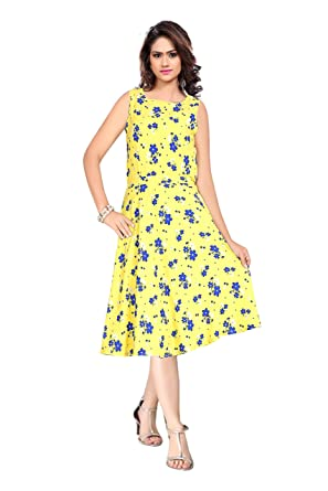 41329df17ebc Kaveri Fashion Women's Crepe One Piece (Yellow and Blue Crepe Top with Short  Sleeve)