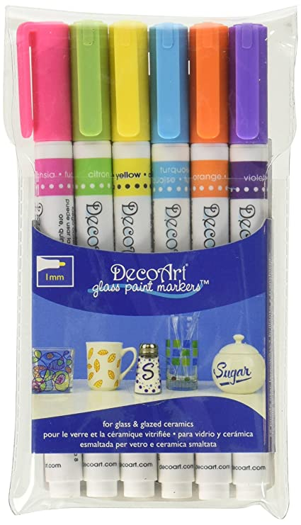 Decoart Glass Paint Marker Multi Pack 6pc Brights