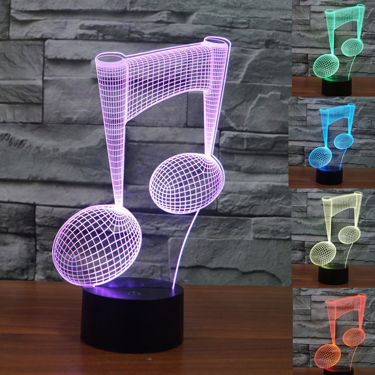 3D Lamp Desk, Ephvan 3D Music Visualization 7 Colors Change Optical Illusion Led Touch Sensor Lamp Atmosphere Bedside Lamp for Home Décor,Children Friend Gift