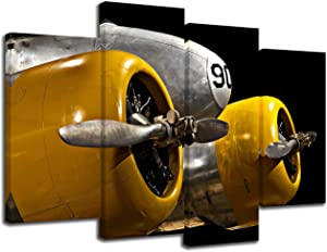 KLVOS 4 Panel Airplane Art Wall Decor Yellow Grey Vintage Propeller Aircraft Canvas Prints Wall Art for Men's Bedrooms Modern Living Room Home Office Wall Decoration Framed Ready to Hang
