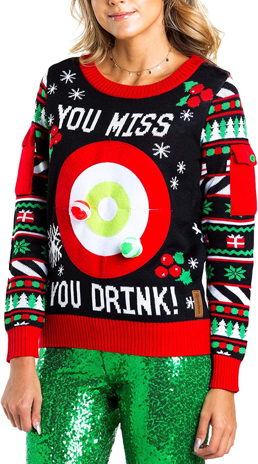 Women\'s Drinking Game Ugly Christmas Sweater - Funny Christmas Sweater