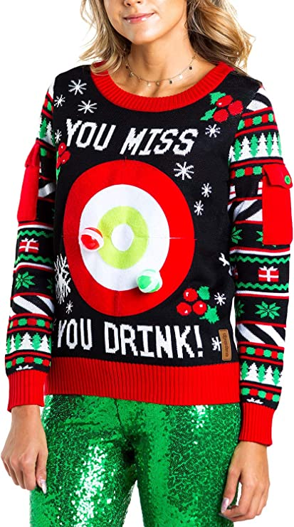 Women's Drinking Game Ugly Christmas Sweater - Funny Christmas Sweater Tacky Christmas Sweaters for Parties