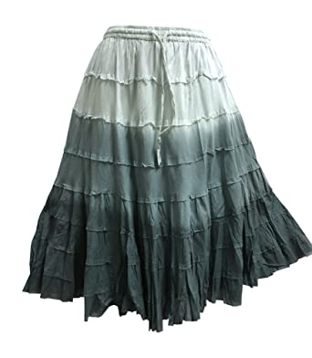 bed20e01f33 Yoga Trendz Missy Plus Bohemian Gauze Cotton Tiered Crinkled Broomstick  Skirt Ombre Mid Length (No1