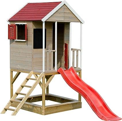 Wendi Toys M7 Summer Adventure House Casita Infantil de Madera en Plataforma para Exterior | Caseta Juegos niños Infantil de Madera casita para jardín: Amazon.es: Juguetes y juegos
