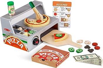 Melissa & Doug Top & Bake Wooden Pizza Counter Play Food Set