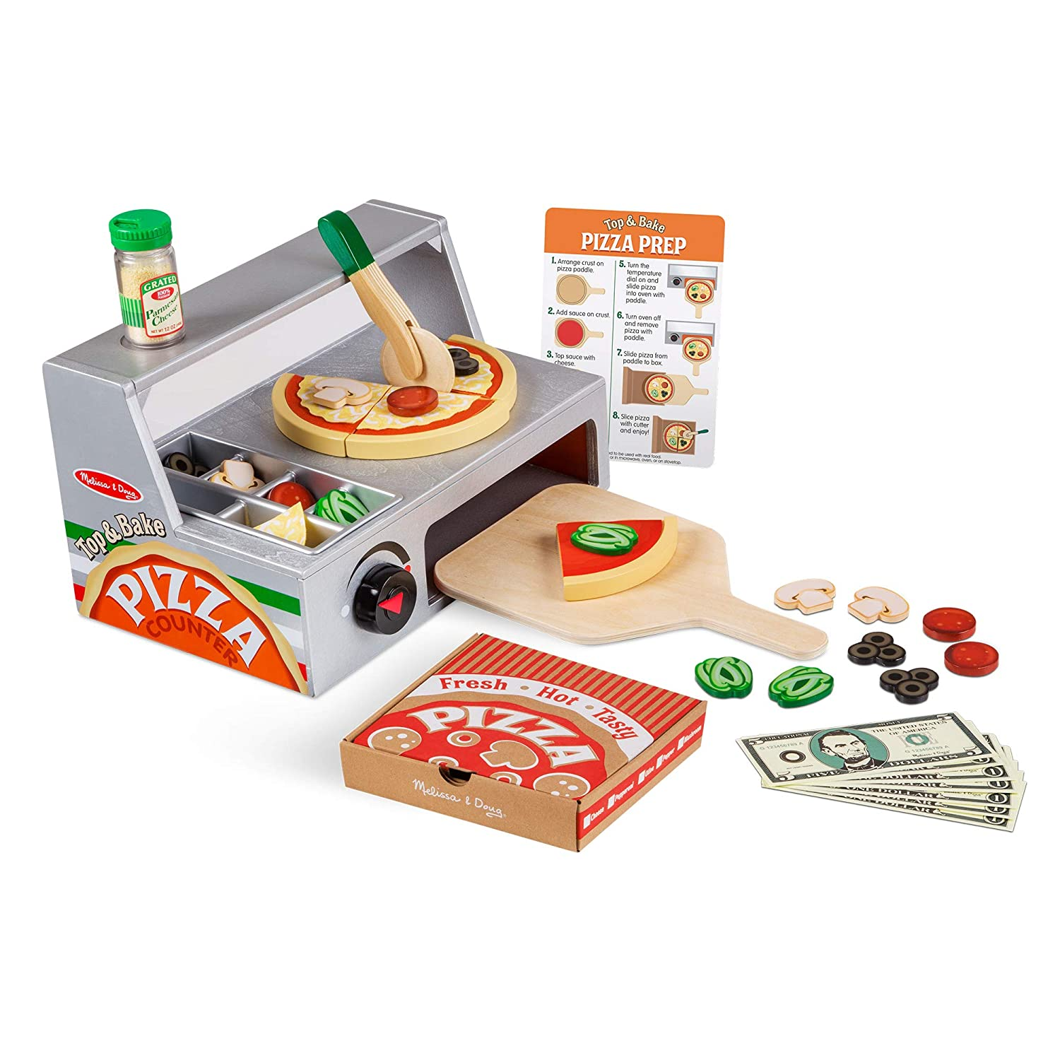 Melissa Doug Top And Bake Wooden Pizza Counter Play Food Set Pretend Play Helps Support Cognitive Development 34 Pieces 7 75 H X 9 25 W X