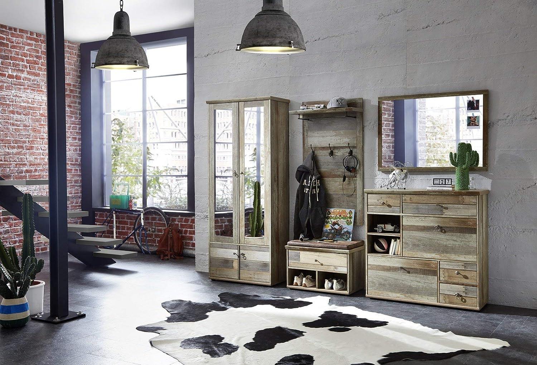 braun, Holz B//H//T Stella Trading Bonanza Garderobenpaneel 67 x 132 x 28 cm