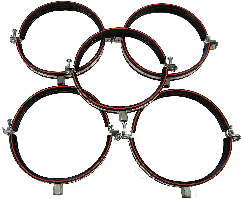Collier Isophonique DN avec insert en caoutchouc, filetage M8/M10, en 2parties, en acier galvanisé, fabriqué en Allemagne, argent en 2parties en acier galvanisé fabriqué en Allemagne Intelmann GmbH