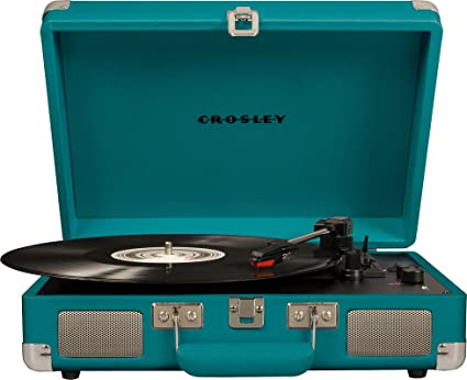 Turquoise Crosley Cruiser Deluxe Portable 3-Speed Turntable with Bluetooth