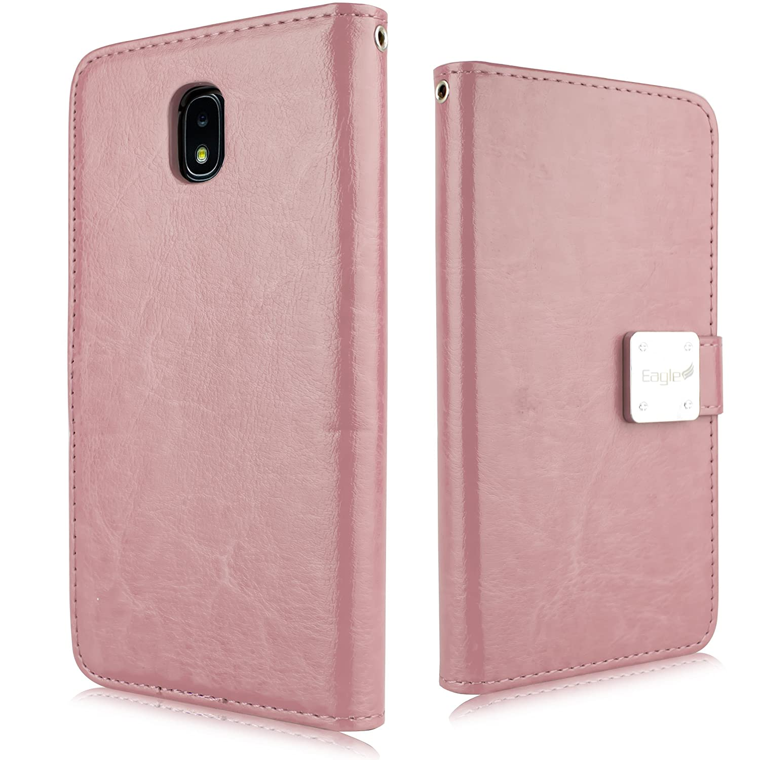 for Samsung Galaxy J7 2018 Refine, J7 Star, Crown, Aura, Aero, Eon, J7 Top (SM- J737) PU Leather 3 Credit Card Slot Detachable Magnetic TPU Case with Wallet [2 in 1 Pouch Cover] (Rose Gold)
